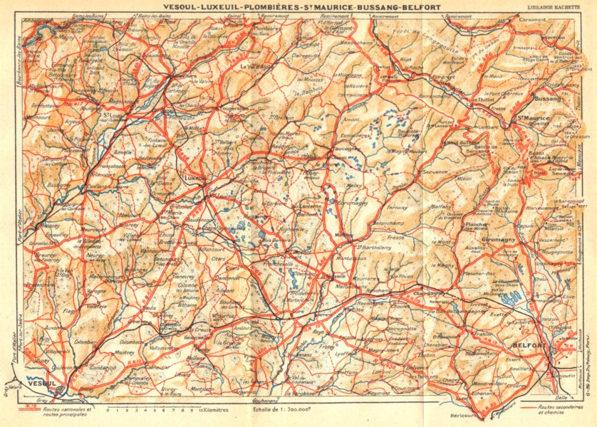 Associate Product HTE- SAÔNE. Vesoul- Luxeuil- Plombières- St. Maurice- Bussang- Belfort 1939 map