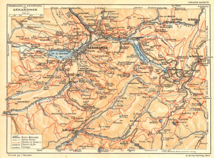 Associate Product VOSGES. Promenades et Excursions de Gérardmer 1939 old vintage map plan chart