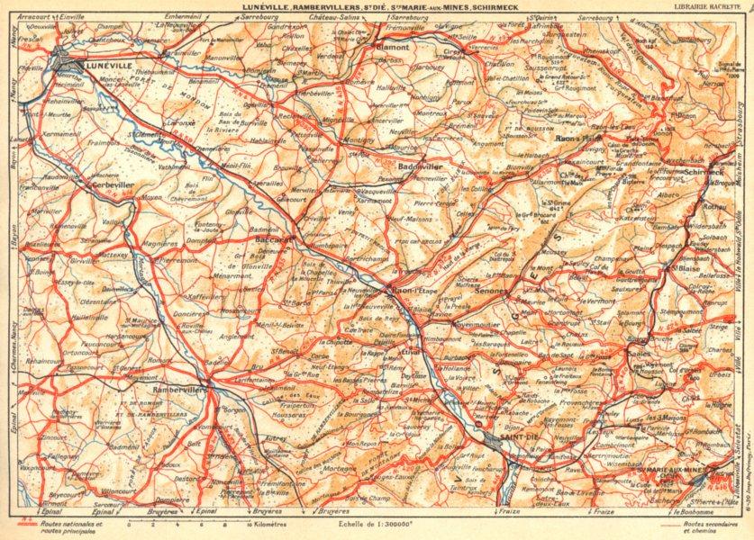 Associate Product LUNÉVILLE. Rambervillers, Stdié, Ste Marie- Aux- Mines, Schirmeck 1939 old map