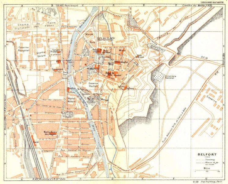 Associate Product TERRITOIRE DE BELFORT. Belfort 1939 old vintage map plan chart