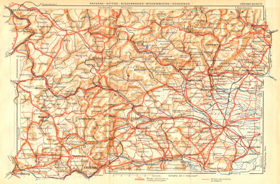 Associate Product BAS- RHIN. Saverne- Bitche- Niederbronn- Wissembourg- Haguenau 1939 old map