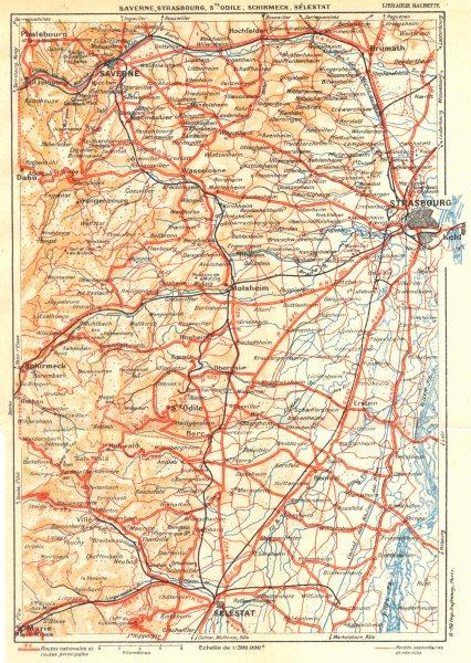 Associate Product BAS- RHIN. Saverne, Strasbourg, Ste. Odile, Schirmeck, Sélestat 1939 old map