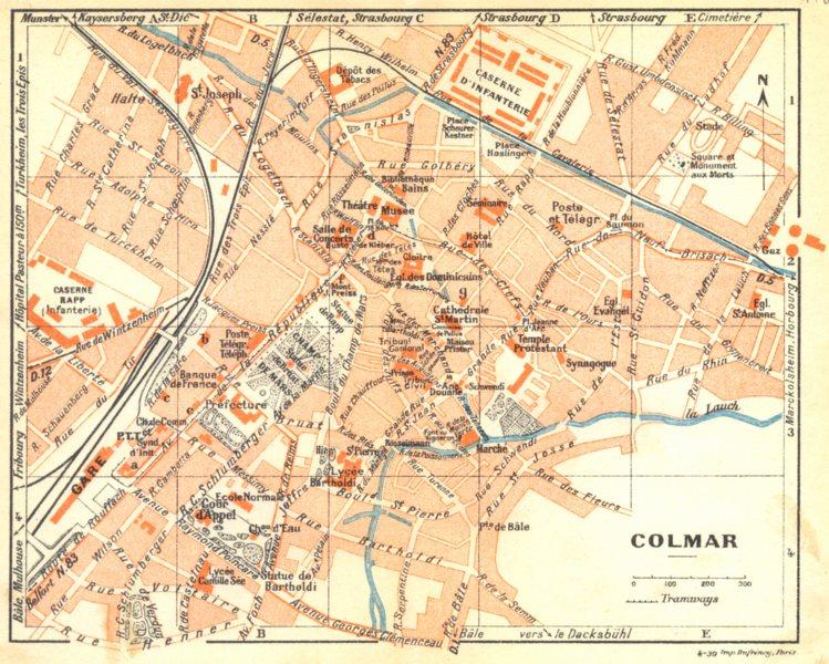 Associate Product HAUT- RHIN. Colmar 1939 old vintage map plan chart