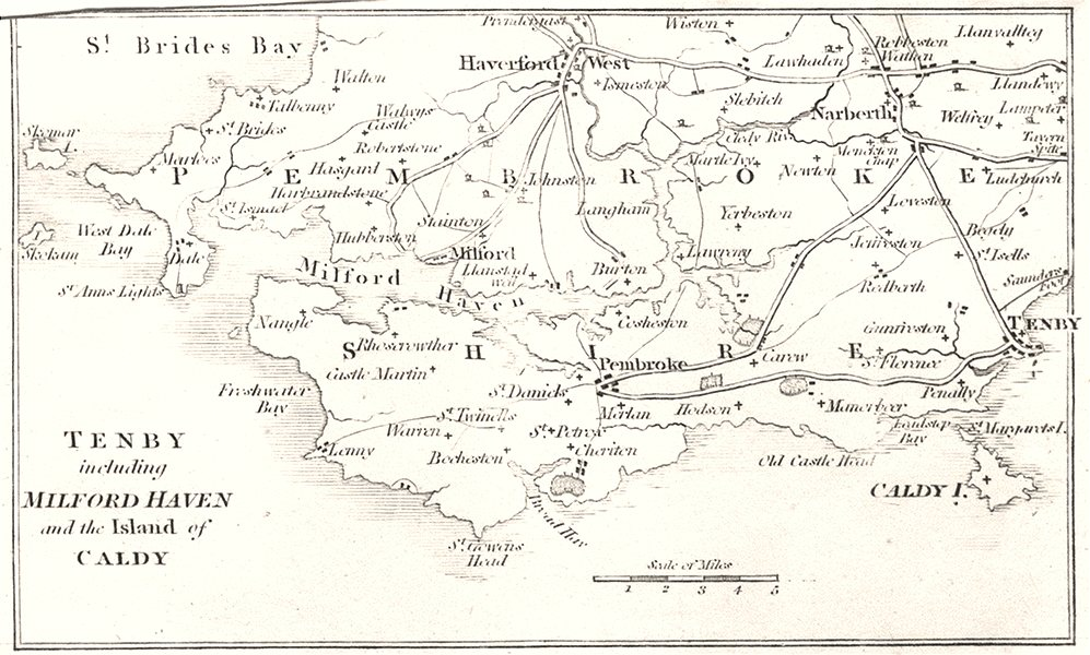 Associate Product WALES. Tenby including Milford Haven and the Island of Caldy 1808 old map