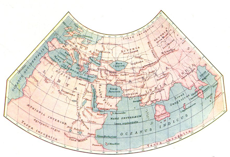 Associate Product WORLD. The old according to Ptolemy 1936 vintage map plan chart