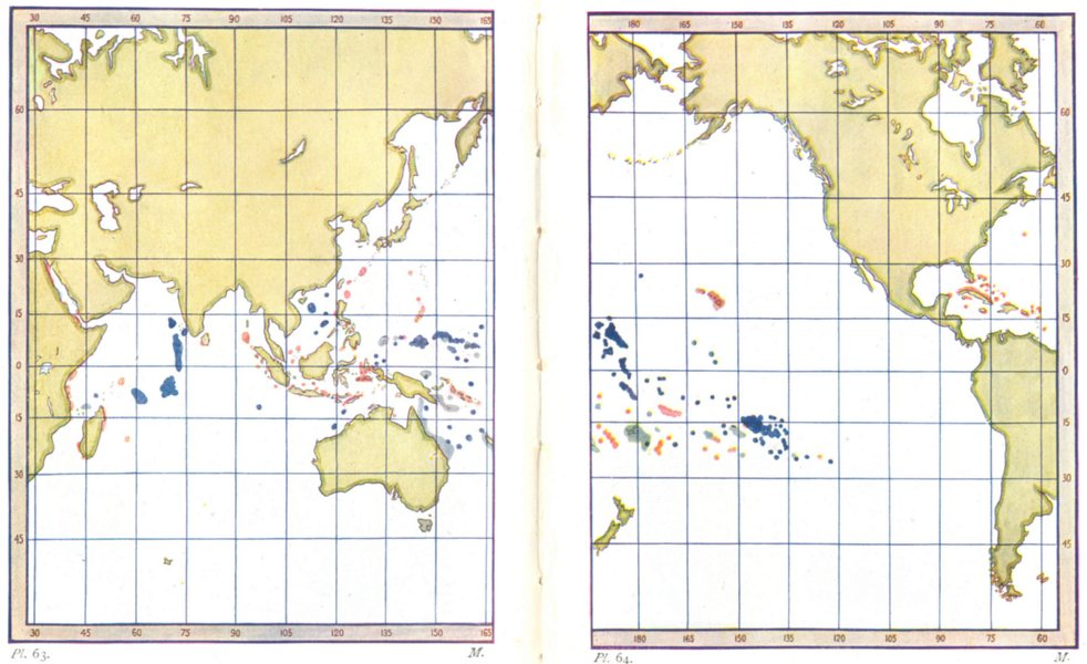 Associate Product CORAL REEFS.Distribution.Dark Blue,Atolls.Light,Barrier.Red,Fringing 1936 map