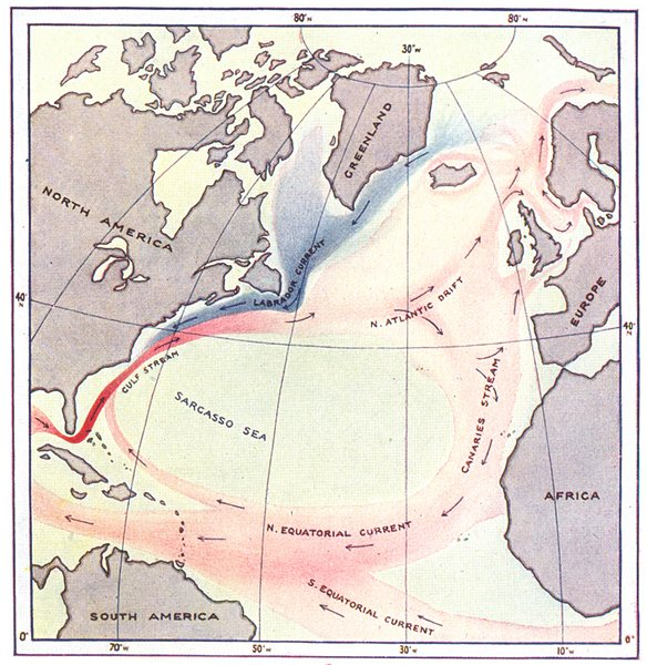 Associate Product ATLANTIC. Surface Currents in North. Red, warm. Blue, cold 1936 map