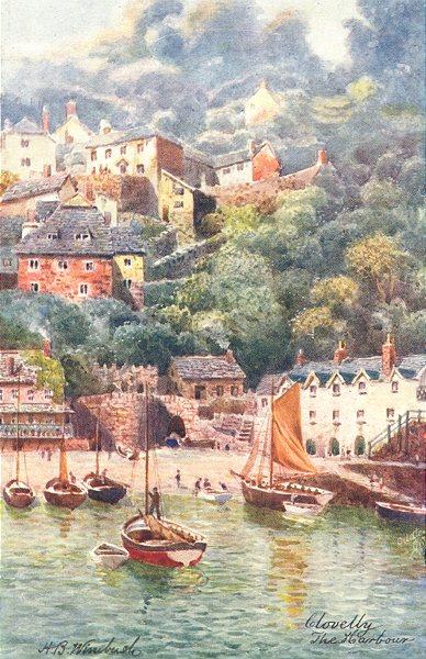 CLOVELLY. The Harbour. North Devon 1906 old antique vintage print picture