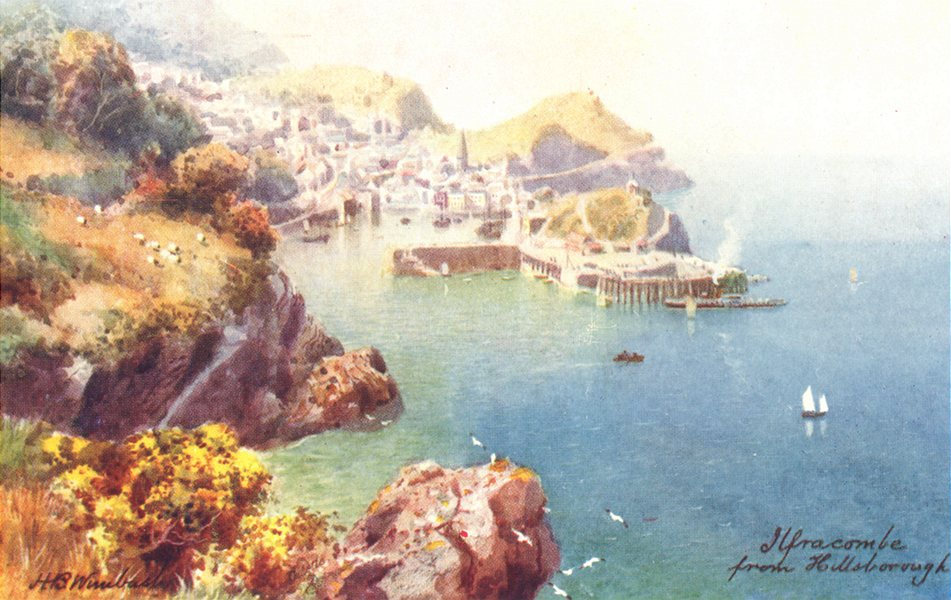Associate Product ILFRACOMBE. View from Hillsborough. North Devon 1906 old antique print picture