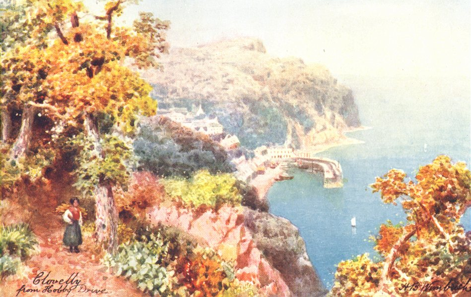 Associate Product CLOVELLY. View from Hobby Drive. North Devon 1906 old antique print picture