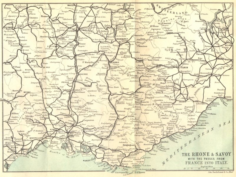 Associate Product RHÔNE. The Rhone & Savoy with the passes from France into Italy 1888 old map