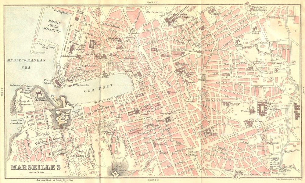 Associate Product BOUCHES- DU- RHÔNE. Marseilles (2)  1888 old antique vintage map plan chart