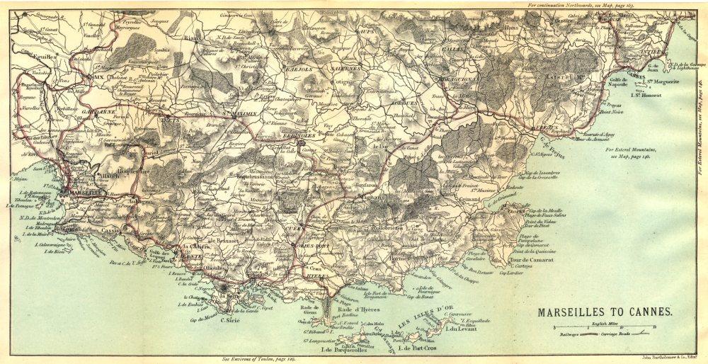 Associate Product BOUCHES- DU- RHÔNE. Marseilles to Cannes 1888 old antique map plan chart