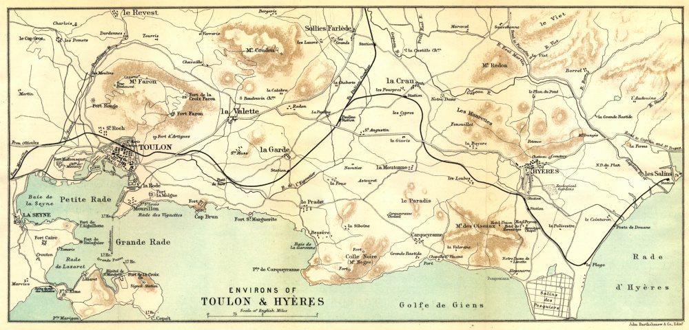 Associate Product VAR. Environs of Toulon & Hyères 1888 old antique vintage map plan chart