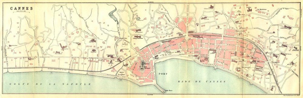 Associate Product ALPES- MARITIMES. Cannes (1)  1888 old antique vintage map plan chart