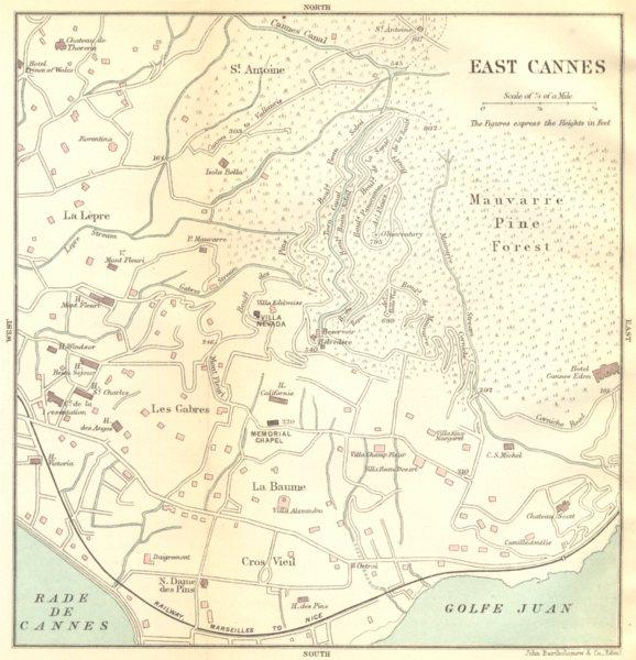 Associate Product ALPES- MARITIMES. East Cannes 1888 old antique vintage map plan chart