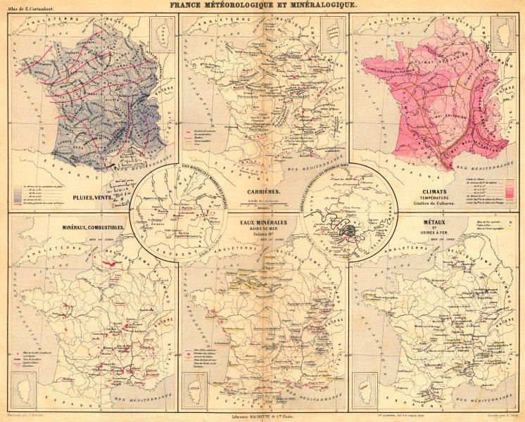Associate Product FRANCE.Météorologique Minéralogique;Pluies,Vents;Carrières;tempèrature 1880 map