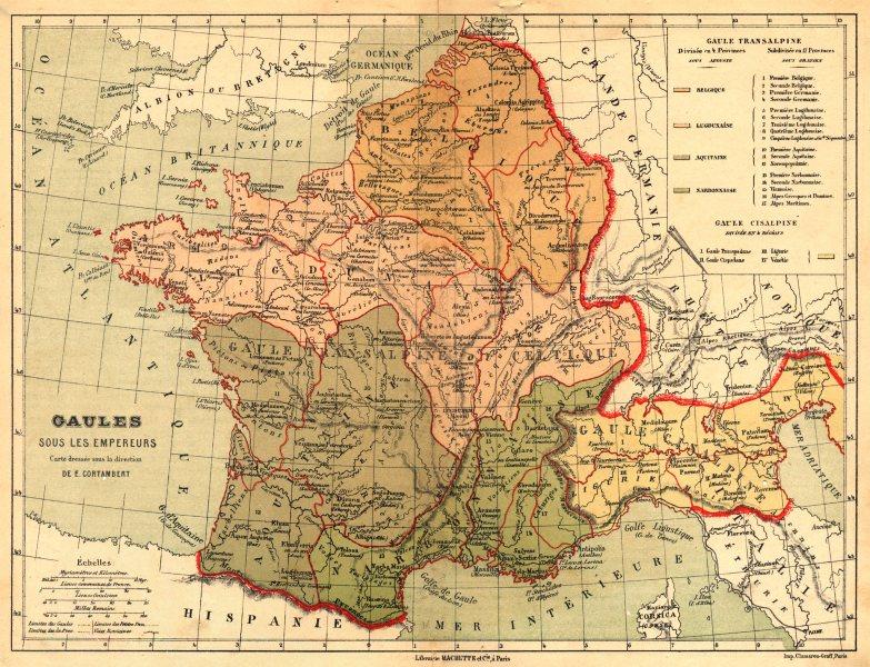 Associate Product FRANCE. Gaules sous les Empereurs carte dressée sous la direction 1880 old map