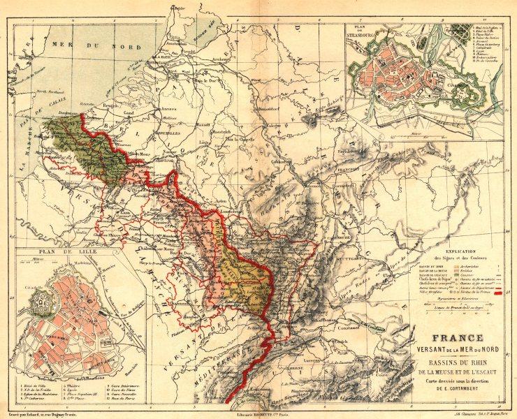 Associate Product FRANCE. Versant Mer Nord Bassins Rhin Meuse Escaut; Strasbourg; Lille 1880 map