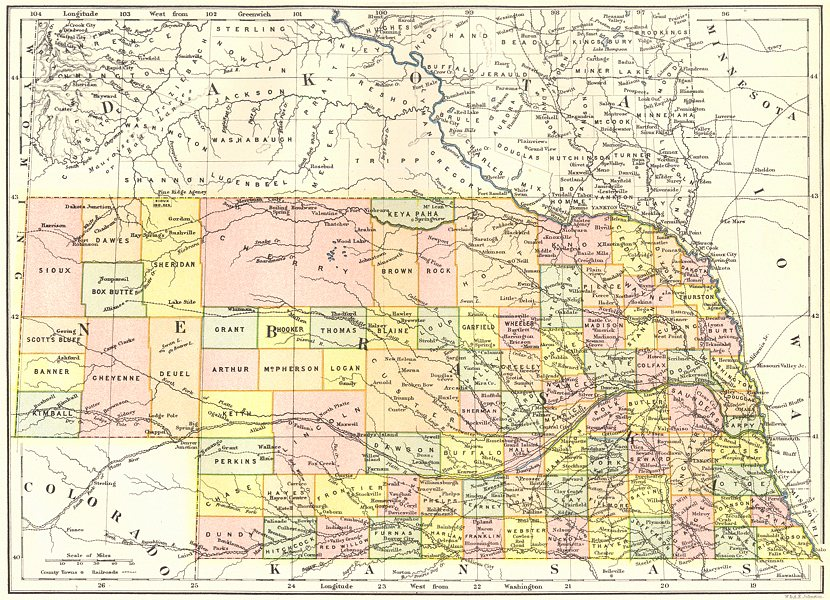Associate Product NEBRASKA. state map showing counties. Britannica 9th edition 1898 old
