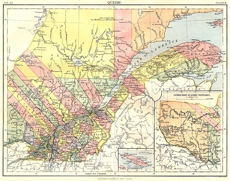Associate Product CANADA. Quebec; Inset map of St Lawrence. Britannica 9th edition 1898 old