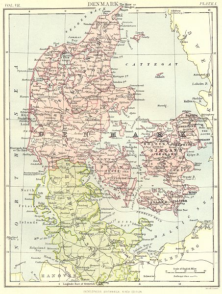 Associate Product DENMARK. Britannica 9th edition 1898 old antique vintage map plan chart