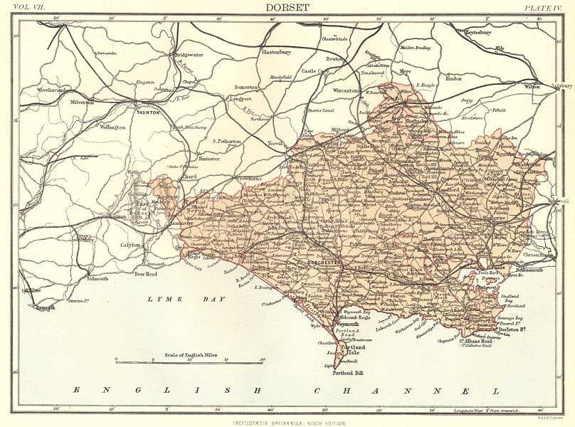 Associate Product DORSET. County map . Britannica 9th edition 1898 old antique plan chart