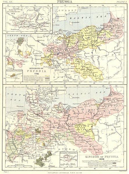 Associate Product KINGDOM OF PRUSSIA.1786 & 1886;Mark Brandenburg ;Neuchatel;Hohenzollern 1898 map