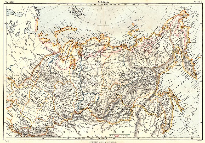 RUSSIA. Siberia, showing Tundra, marshes. Britannica 9th edition 1898 old map