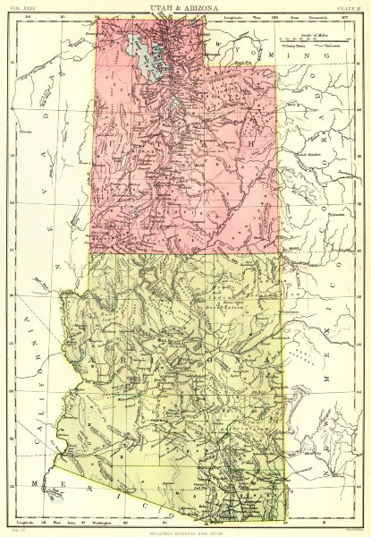 Associate Product UTAH & ARIZONA. State map. Britannica 9th edition 1898 old antique chart