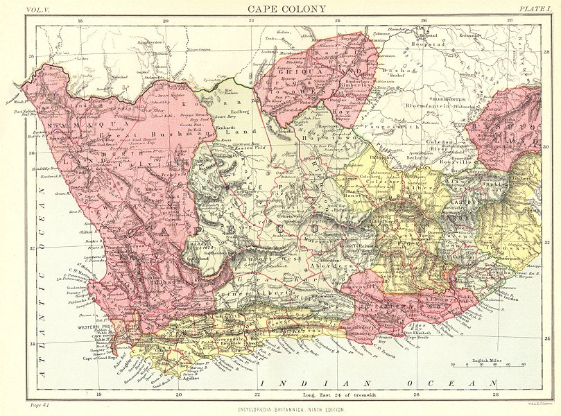 Associate Product SOUTH AFRICA. Cape Colony. Britannica 9th edition 1898 old antique map chart