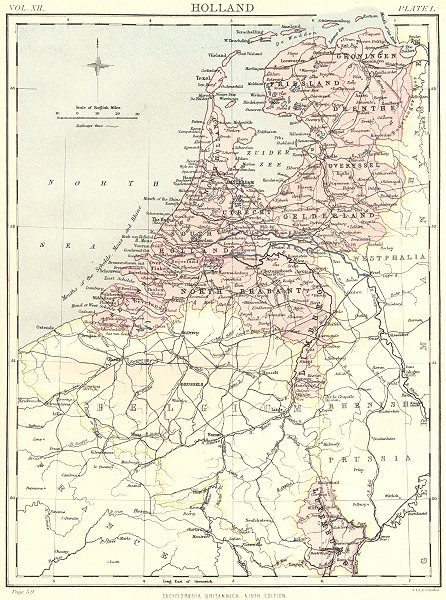Associate Product NETHERLANDS. Holland. Luxemburg Luxembourg. Britannica 9th edition 1898 map