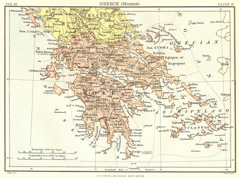 Associate Product GREECE. Greece (Modern) . Britannica 9th edition 1898 old antique map chart
