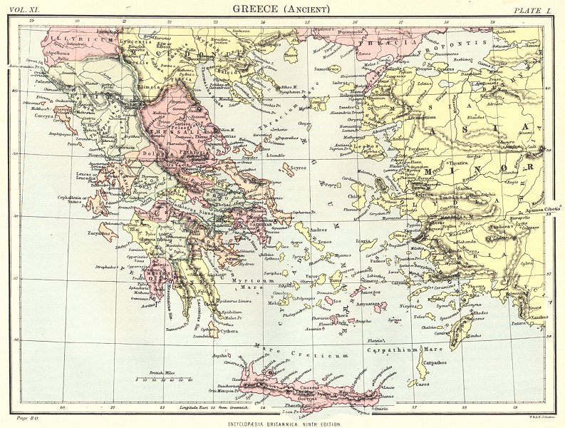 Associate Product GREECE. Greece (Ancient) . Britannica 9th edition 1898 old antique map chart