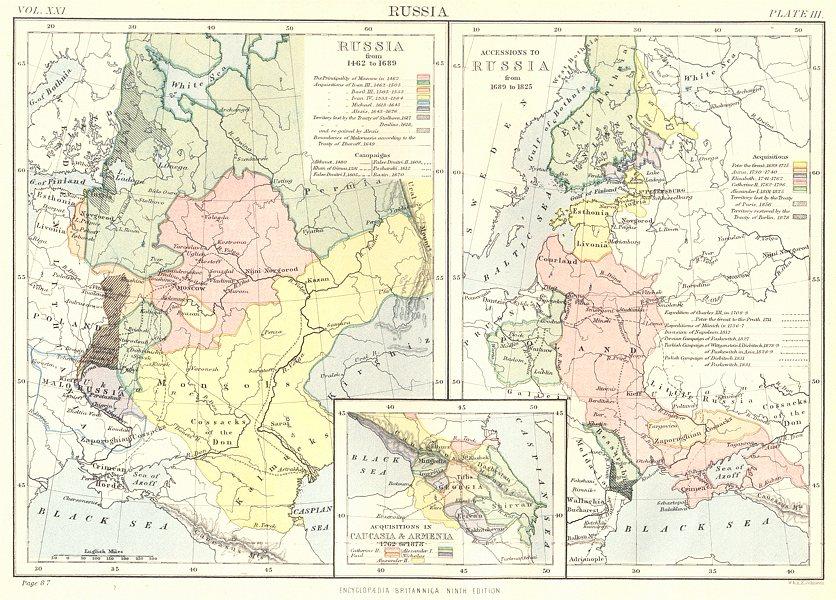 Associate Product RUSSIA.1462-1689-1825;Accessions Acquisition Caucasia Armenia 1762 -878 1898 map