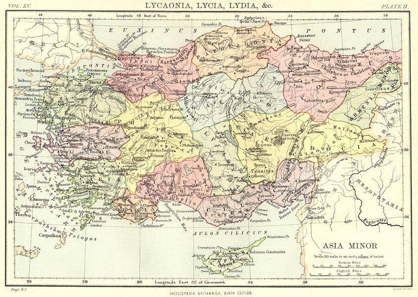 Associate Product TURKEY. Asia Minor. Lycaonia, Lycia, Lydia. Britannica 9th edition 1898 map