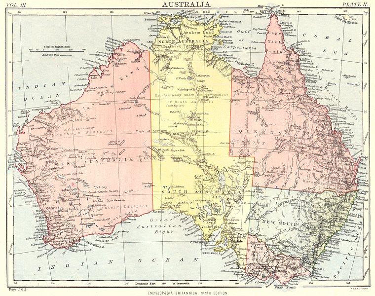 AUSTRALIA. Britannica 9th edition 1898 old antique vintage map plan chart