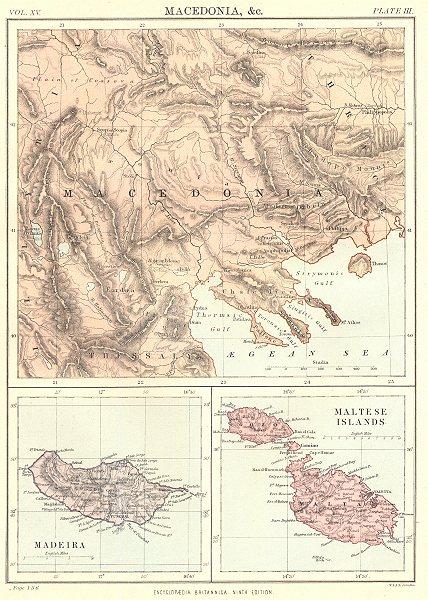 Associate Product MACEDONIA MALTA MADEIRA. Maltese Islands Gozo.Britannica 9th edition 1898 map