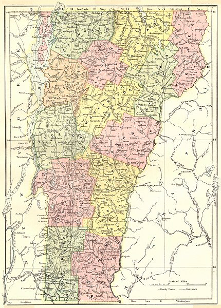 Associate Product VERMONT. State map showing counties. Britannica 9th edition 1898 old