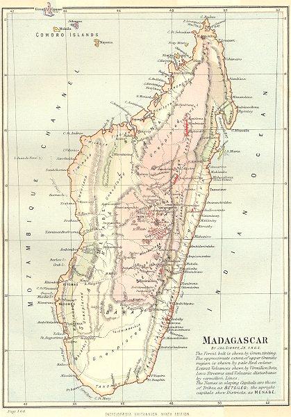 Associate Product MADAGASCAR. Forest belt; volcanoes; tribes; granitic region. Britannica 1898 map