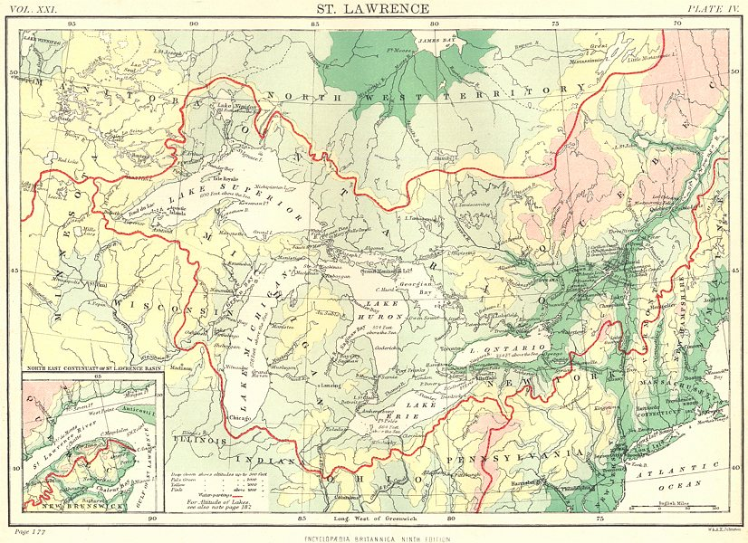 Associate Product GREAT LAKES & ST LAWRENCE BASIN. Watershed drainage basin. Canada USA 1898 map