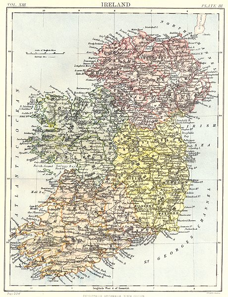 Associate Product IRELAND. Showing provinces. Britannica 9th edition 1898 old antique map chart