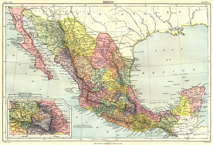 MEXICO. Showing states. Inset Mexico City. Britannica 9th edition 1898 old map