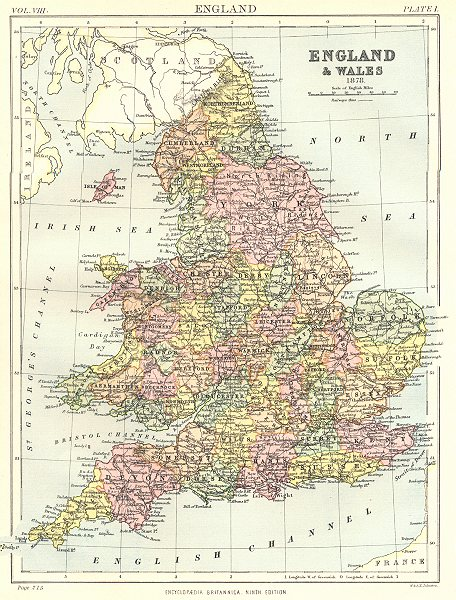 Associate Product ENGLAND & WALES. in 1878, showing counties. Britannica 9th edition 1898 map