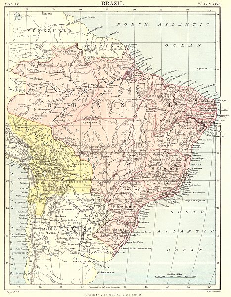 Associate Product BRAZIL & BOLIVIA. Britannica 9th edition 1898 old antique map plan chart