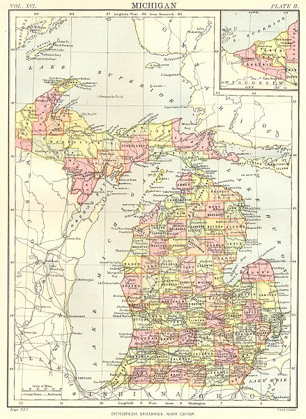Associate Product MICHIGAN. State map showing counties. Britannica 9th edition 1898 old