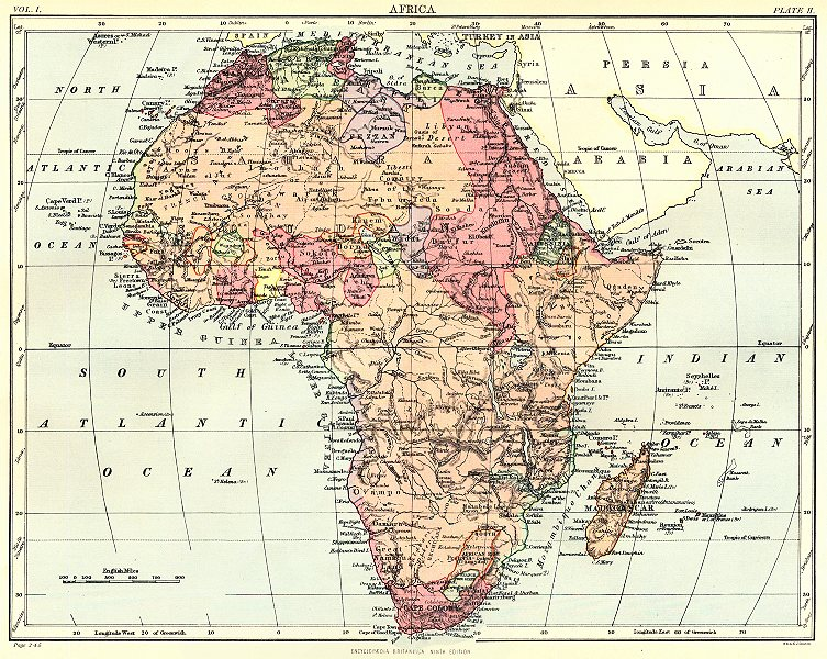 Associate Product AFRICA. Africa. Britannica 9th edition 1898 old antique vintage map plan chart