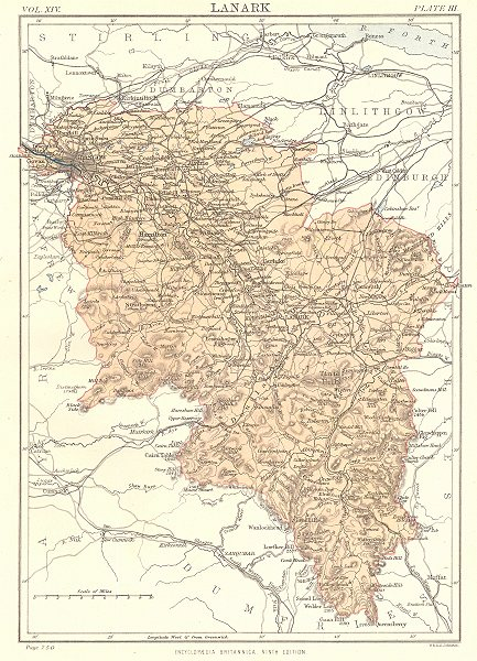 Associate Product SCOTLAND. Lanarkshire. County map. Britannica 9th edition 1898 old antique