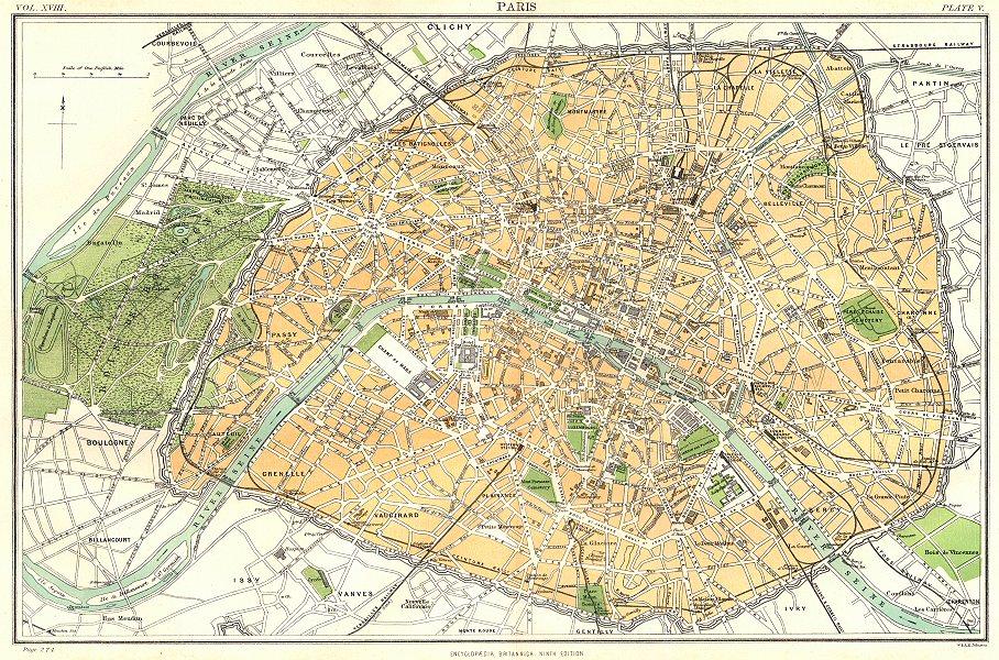 Associate Product PARIS. Central Paris. Britannica 9th edition 1898 old antique map plan chart