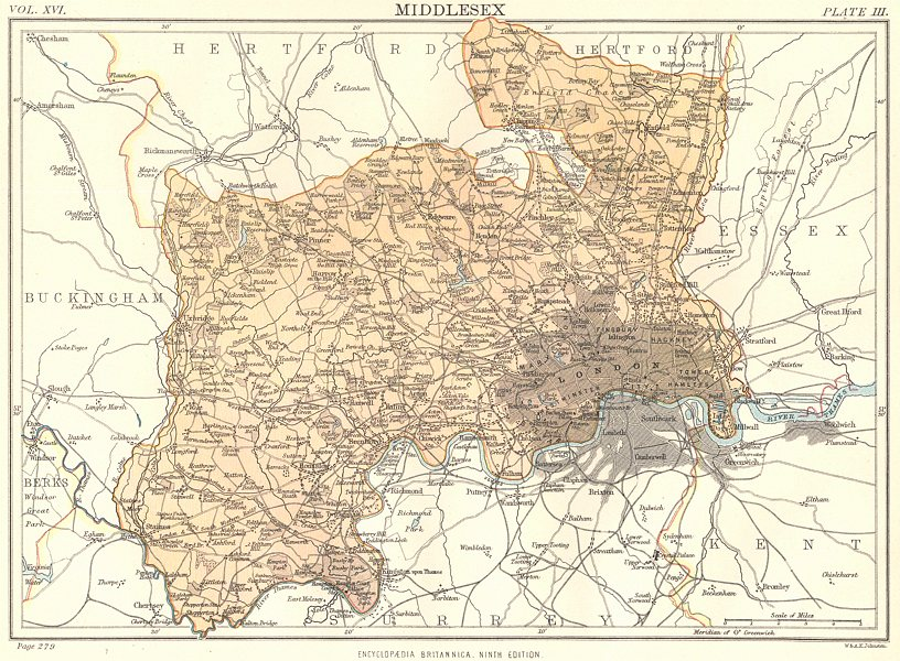 Associate Product MIDDLESEX. London.  Britannica 9th edition County map 1898 old antique